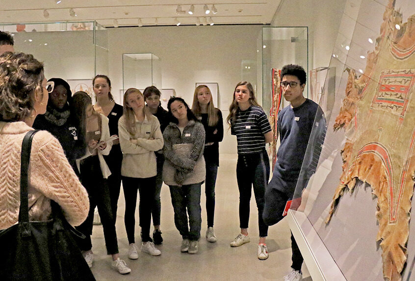 US AP History at MET for Art of Native American exhibit students observe art