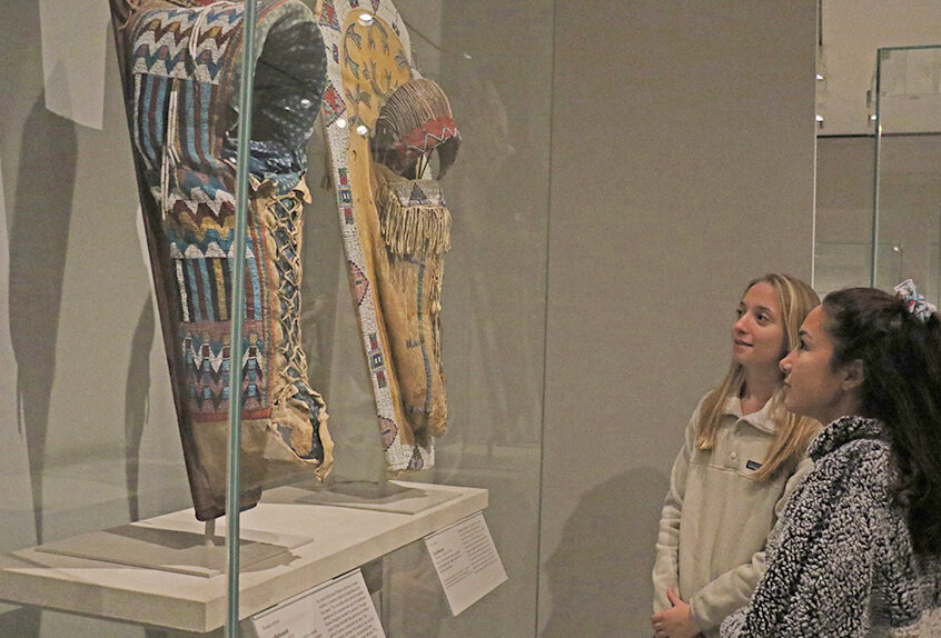US AP History at MET for Art of Native American exhibit students look at art