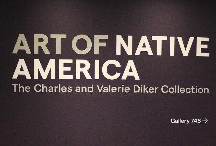 US AP History at MET for Art of Native American exhibit sign
