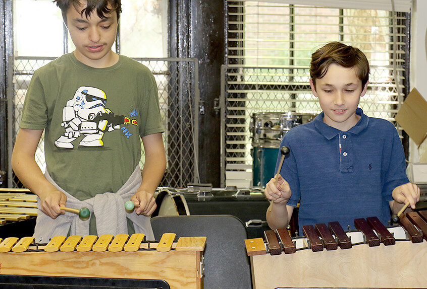 Middle School Harlem Renaissance music boys with xylophones