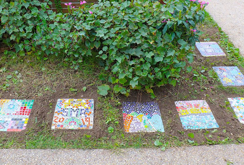 Adina Scherer's Grade 5MR students mosaic garden tiles