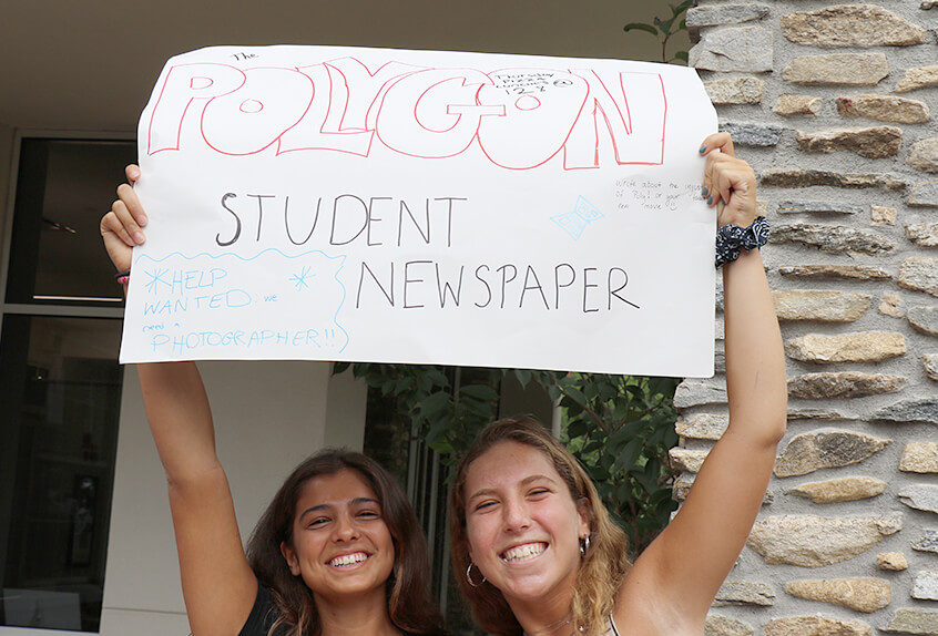 Students recruiting other students to join the Polygon newspaper staff