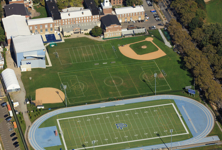 Aerial view of Poly Prep's Dyker Heights campus sports facilities