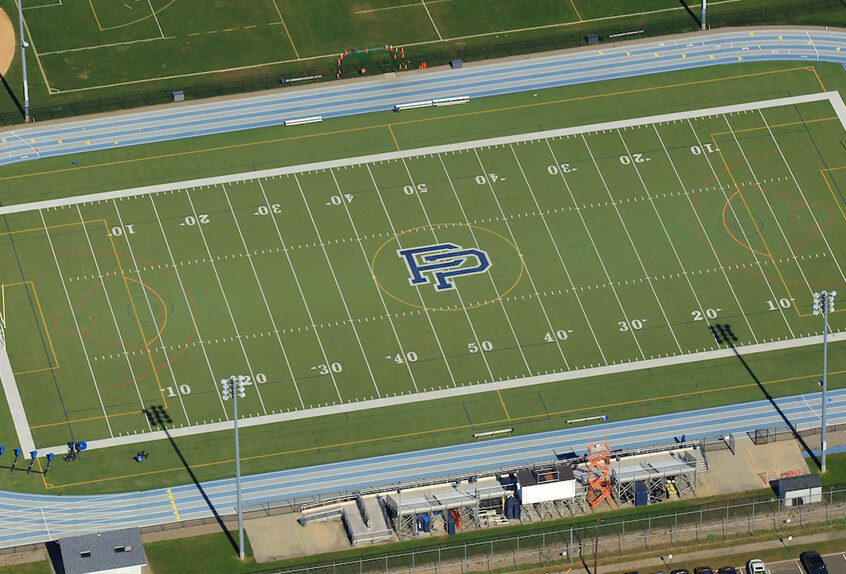 Aerial view of the Poly Prep Dyker Heights Football field