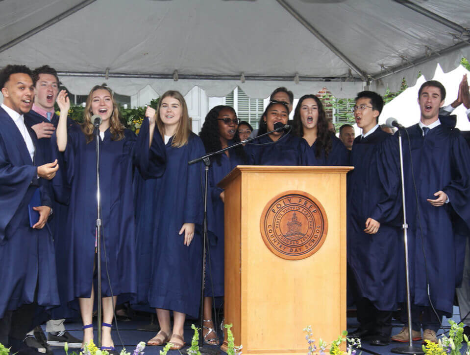 Poly Prep graduating seniors at the podium