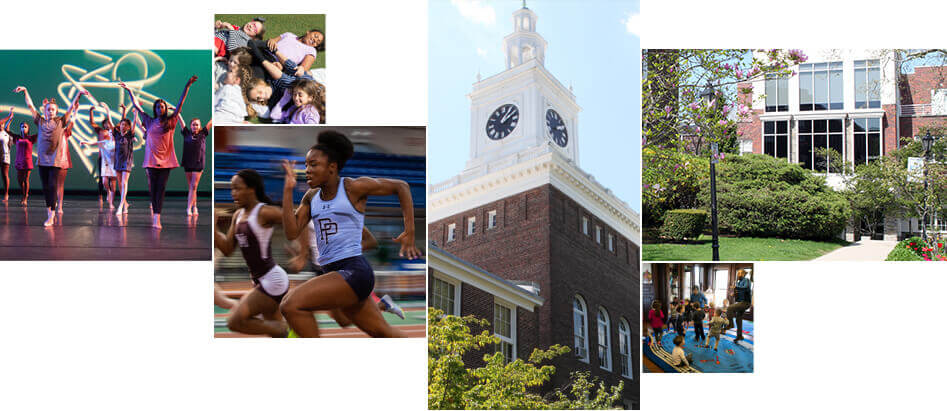 a mosaic of different images of Poly Prep's campuses
