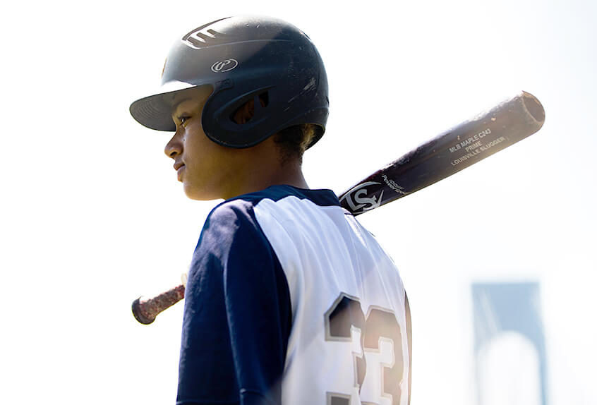 Channing Austin baseball profile with bridge in background