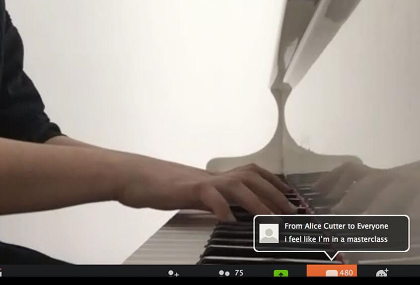 Virtual coffee house community talent piano