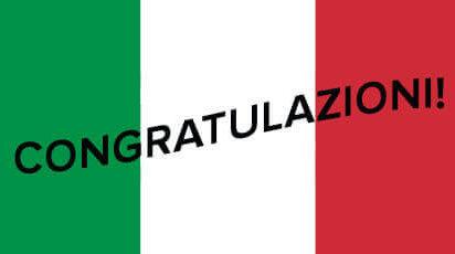 Italian flag congratulations