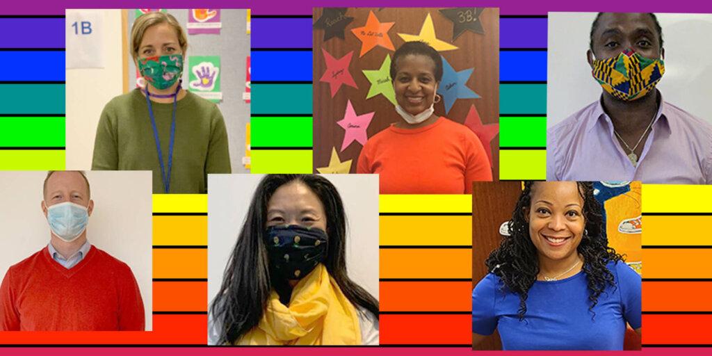 Alley Week Lower School Faculty over Rainbow Flag