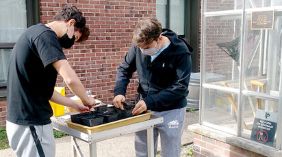 Upper School science Urban Food Systems soil lab outdoors