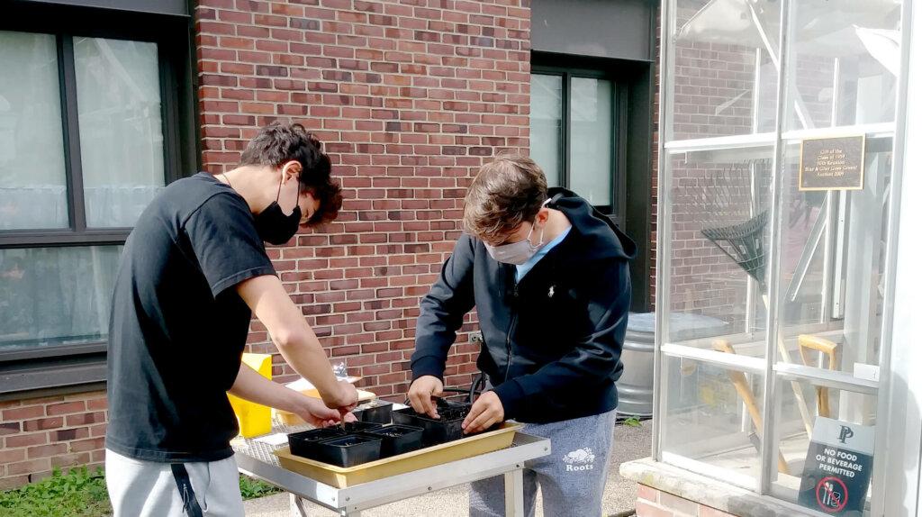 Upper School science Urban Food Systems outdoor lab