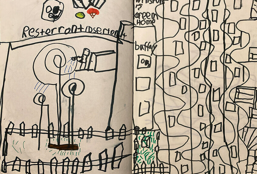 Biomorphic Architectural Drawings inspired by Hundertwasser, Winston T. '32