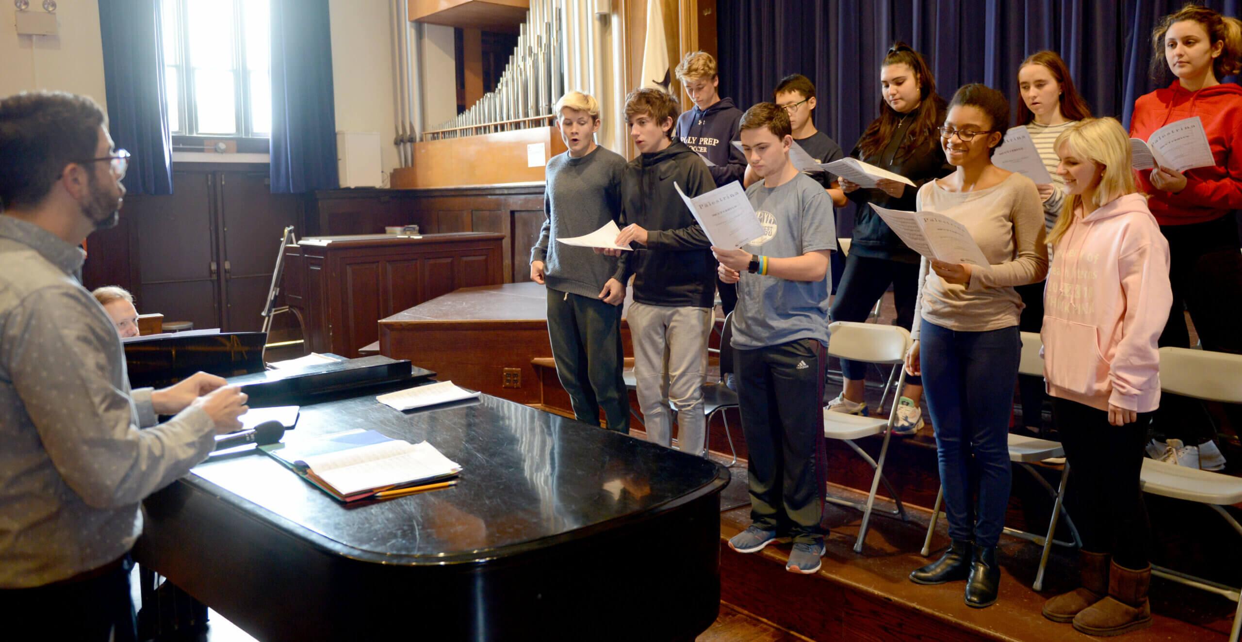Dan Doughty teaching music class in chapel