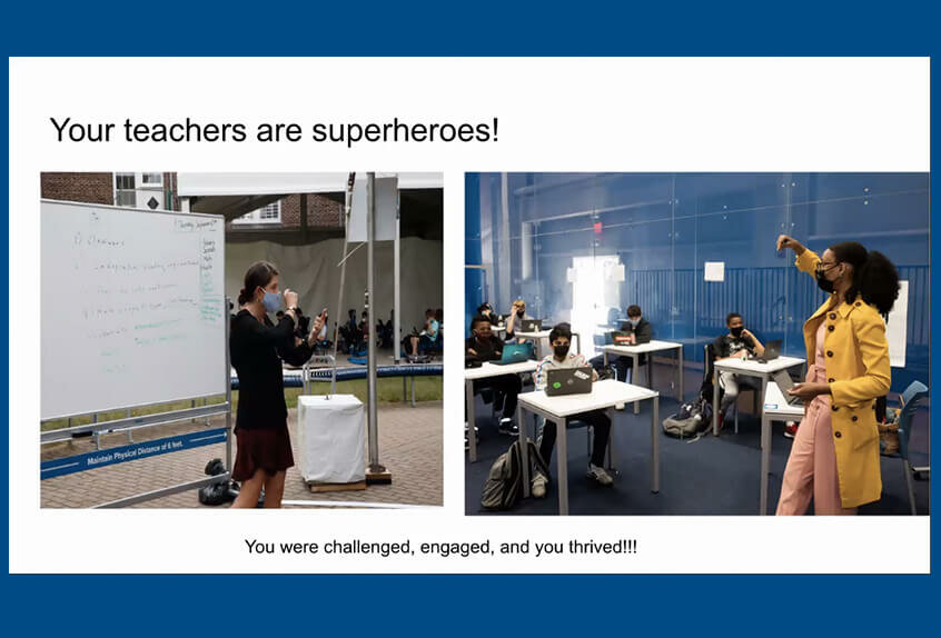 middle and upper school assembly teachers are superheroes