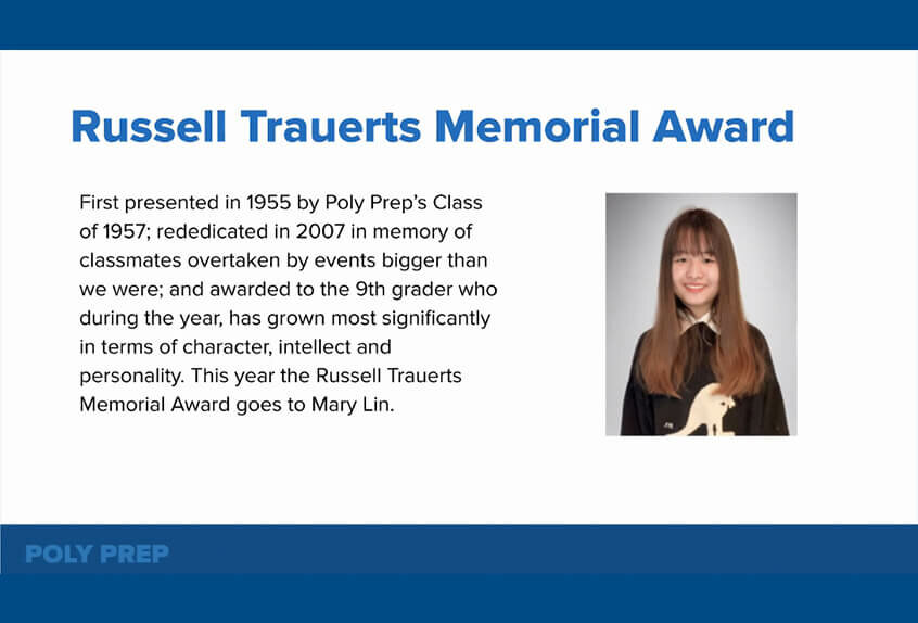Russell Trauerts Memorial Award to Mary Lin '24