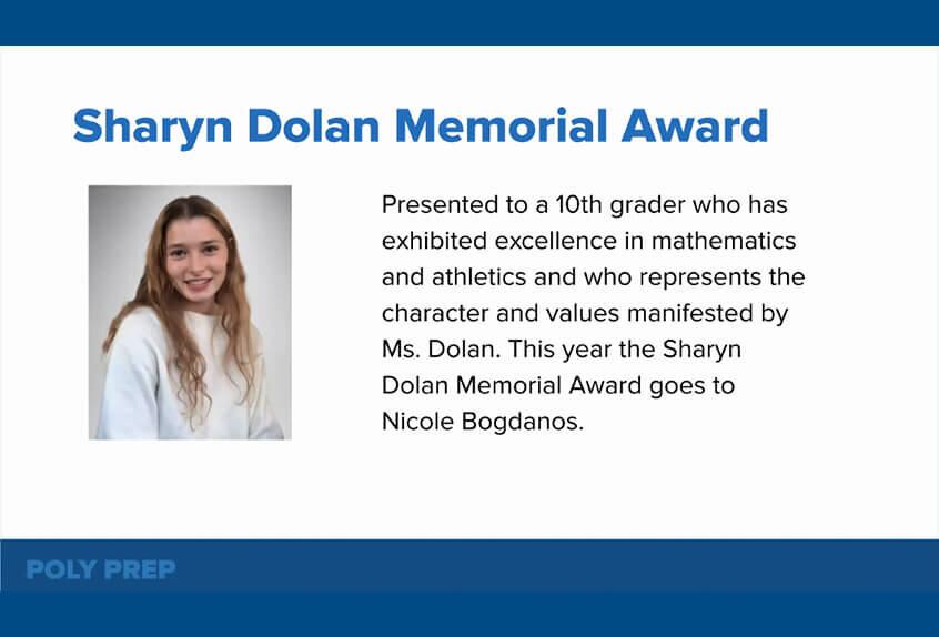 Sharyn Dolan Memorial Award to Nicole Bogdanos '23