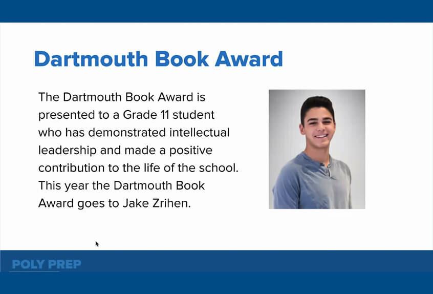 Dartmouth Book Award to Jake Zrihen '22