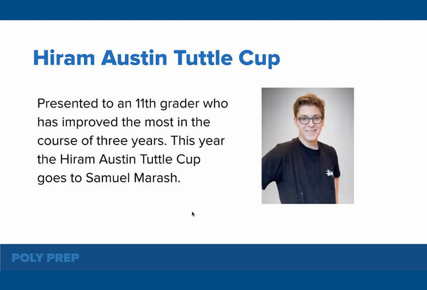 Hiram Austin Tuttle Cup to Samuel Marash '22