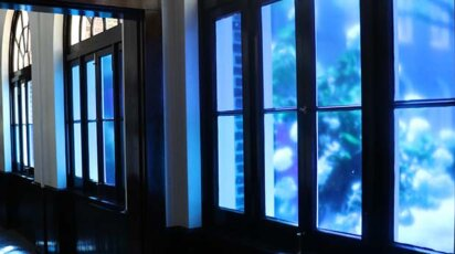 Sarah E. Brook blue hallway